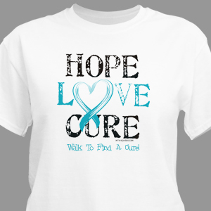 Hope love cure awareness personalized t shirt for Ovarian cancer awareness t shirts