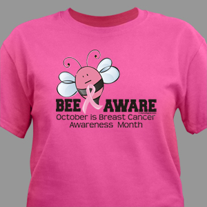 bee aware breast cancer awareness tshirt mywalkgearcom