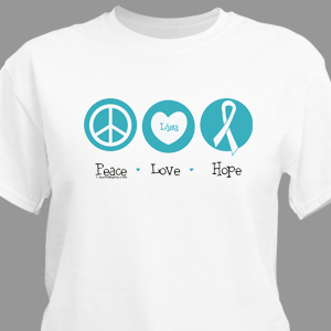 Peace Love Hope Cancer Awareness Personalized T-shirt