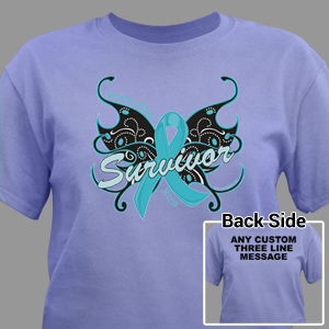 Ovarian cancer survivor butterfly t shirt for Ovarian cancer awareness t shirts
