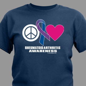 Peace Hope Love Rheumatoid Arthritis Awareness T-Shirt
