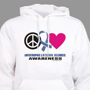Peace Hope Love ALS Awareness Hooded Sweatshirt