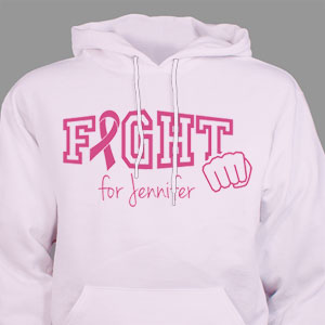 Personalized Fight Cancer Awareness Pink Hooded Sweatshirt