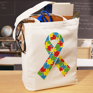 Puzzle Piece Ribbon Tote Bag