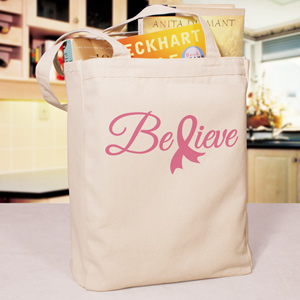 Believe Ribbon Canvas Tote Bag
