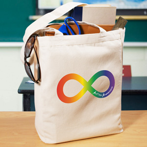 Rainbow Infinity  Autism Canvas Tote Bag