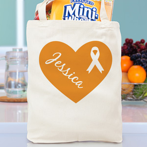 Heart Ribbon Canvas Tote Bag