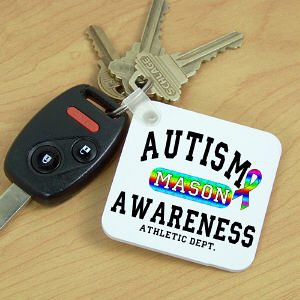 Personalized Autism Awareness Athletic Dept. Keychain