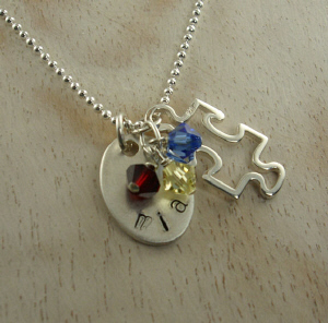 Autism Awareness Hand Stamped Necklace