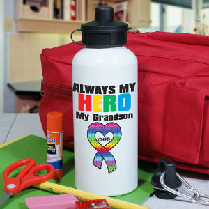 Personalized My Hero Autism Awareness Water Bottle