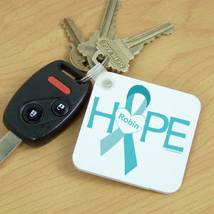 Hope Ovarian Cancer Awareness Key Chain