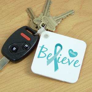 Cervical Cancer Believe Key Chain