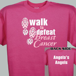 Personalized Walk to Defeat Breast Cancer Hot Pink T-Shirt