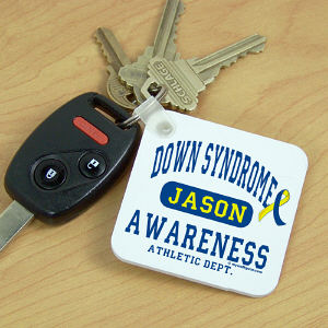 Personalized Down Syndrome Awareness Athletic Dept. Key Chain