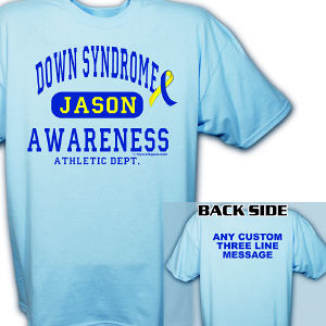 Personalized Down Syndrome Awareness Athletic Dept. T-Shirt