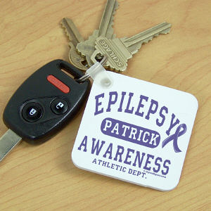 Personalized Epilepsy Awareness Athletic Dept. Key Chain