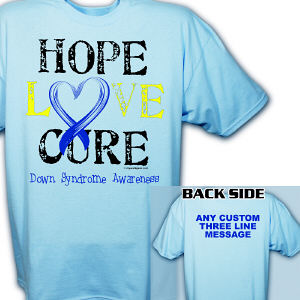 Personalized Hope Love Cure Down Syndrome Awareness T-Shirt