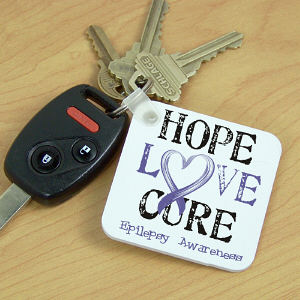 Personalized Hope Love Cure Epilepsy Awareness Key Chain