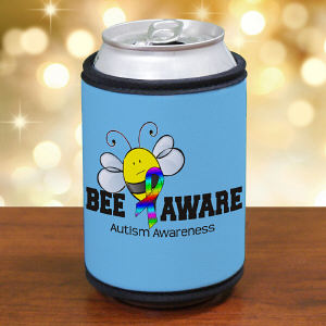 Bee Aware Autism Awareness Can Wrap Koozie