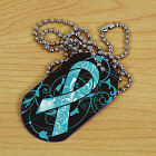 Teal Awareness Ribbon Dog Tag 342891