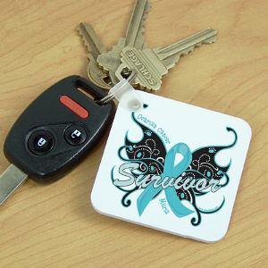 Ovarian Cancer Survivor Butterfly Key Chain