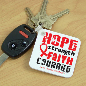 Heart Disease Hope Ribbon Key Chain