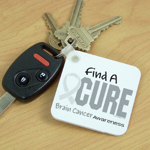Find A Cure Brain Cancer Awareness Key Chain