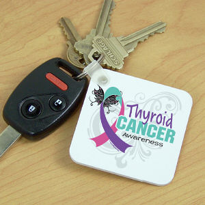 Thyroid Cancer Awareness Ribbon Key Chain