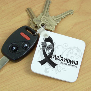 Melanoma Awareness Ribbon Key Chain