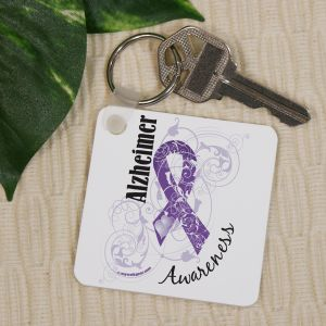 Alzheimer's Awareness Ribbon Keychain