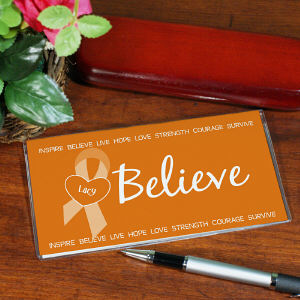 Orange Believe Awareness Checkbook Cover