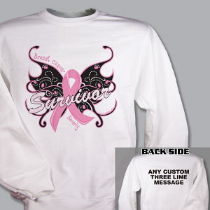 Breast Cancer Survivor Butterfly Sweatshirt