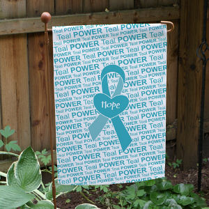 Teal Awareness Ribbon Garden Flag