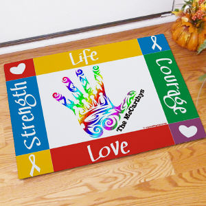 Autism Awareness Handprint Welcome Doormat