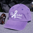 Embroidered Believe Awareness Purple Hat 841246PR