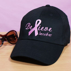 Embroidered Breast Cancer Awareness Black Hat