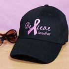 Embroidered Breast Cancer Awareness Black Hat 841246BK