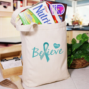 Ovarian Cancer Believe Awareness Tote Bag