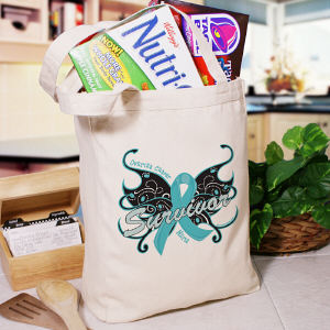 Ovarian Cancer Survivor Butterfly Tote Bag