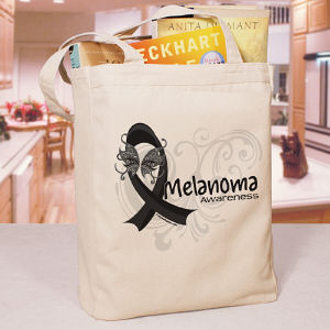 Melanoma Awareness Ribbon Tote Bag