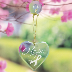 Hope Ribbon Heart Suncatcher