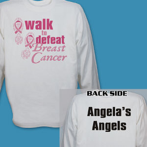 Personalized Walk to Defeat Breast Cancer Long Sleeve Shirt
