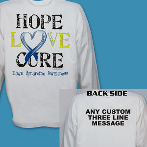 Personalized Hope Love Cure Down Syndrome Awareness Long Sleeve Shirt