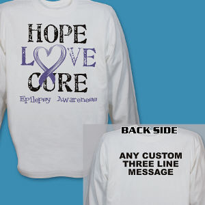 Personalized Hope Love Cure Epilepsy Awareness Long Sleeve Shirt