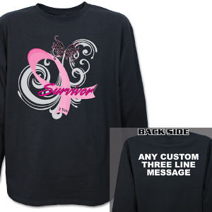 Hope Ribbon Breast Cancer Survivor Long Sleeve Shirt