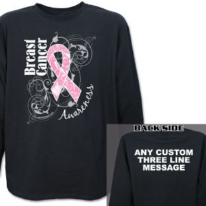 Breast Cancer Hope Ribbon Awareness Long Sleeve Shirt