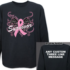 Breast Cancer Survivor Butterfly Long Sleeve Shirt