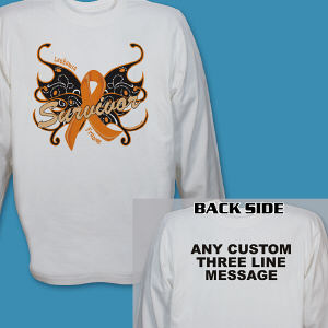 Leukemia Survivor Butterfly Long Sleeve Shirt