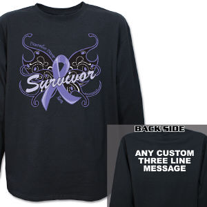 Pancreatic Cancer Survivor Butterfly Long Sleeve Shirt