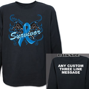 Colon Cancer Survivor Butterfly Long Sleeve Shirt